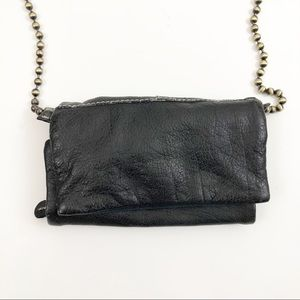 Free People Black Leather Beaded Strap Purse